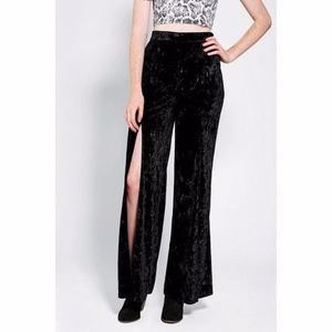 Urban Outfitters Black Crushed Velvet Slit Pants
